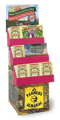 Old Farmer's Almanac 2018 60 Copies & 12 Gardening Calendars & 12 Weather Watcher's Calendars Display