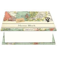 Vintage Map Square Memo Block