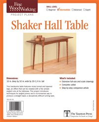 Fine Woodworking's Shaker Hall Table Plan