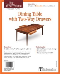 Fine Woodworking's Dining Table with Two-Way Drawers Plan