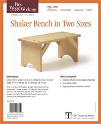 Fine Woodworking's Shaker Bench in Two Sizes Plan