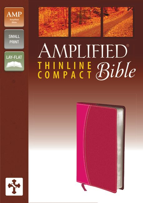 Amplified Thinline Bible, Compact, Imitation Leather, Pink/Red