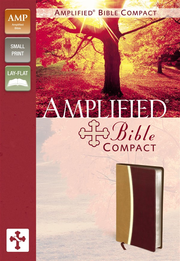 Amplified Bible, Compact, Imitation Leather, Tan/Burgundy