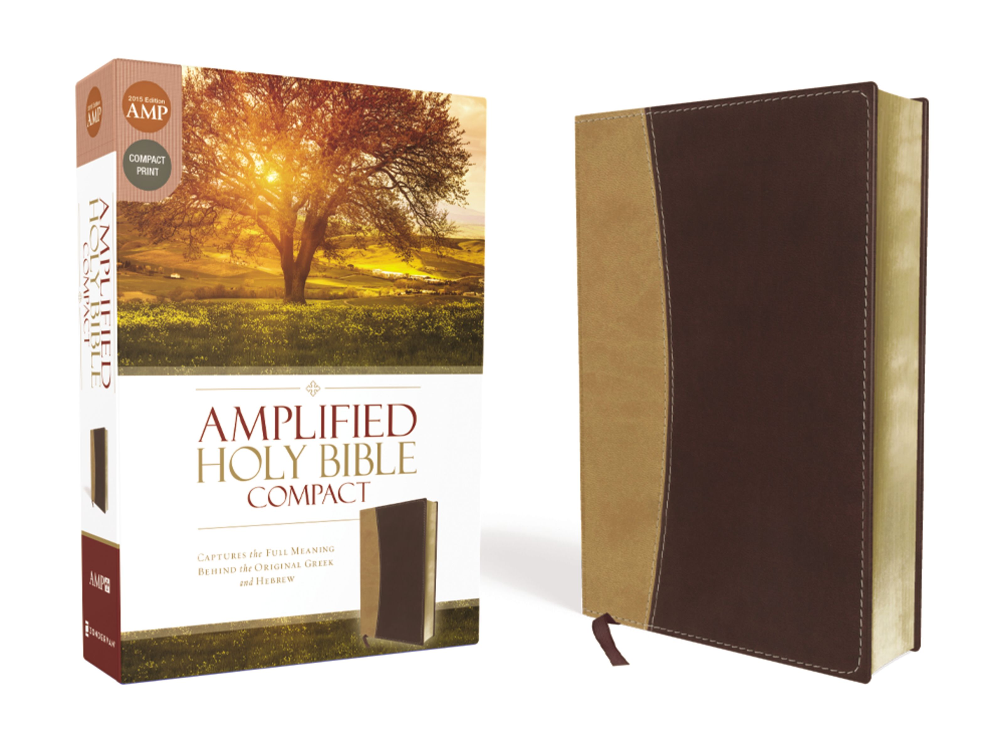 Amplified Holy Bible, Compact, Imitation Leather, Tan/Burgundy