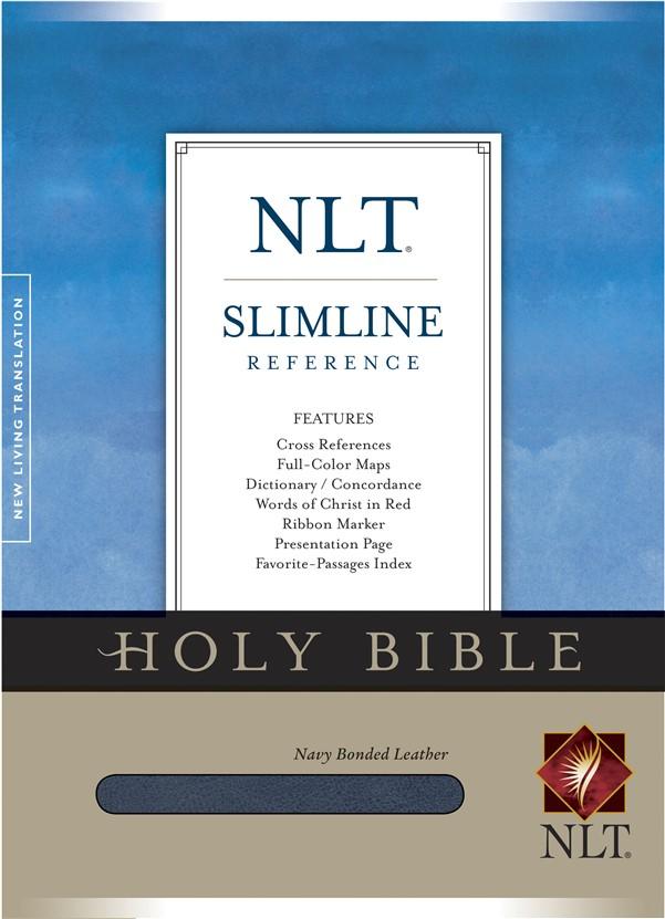 Slimline Reference Bible NLT (Red Letter, Bonded Leather, Navy)