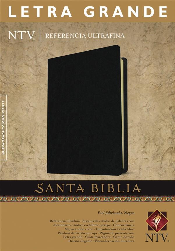 Santa Biblia NTV, Edición de referencia ultrafina, letra grande (Letra Roja, Piel fabricada, Negro)