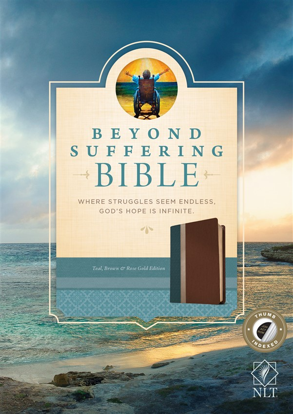 Beyond Suffering Bible NLT, TuTone (LeatherLike, Teal/Brown/Rose Gold, Indexed)