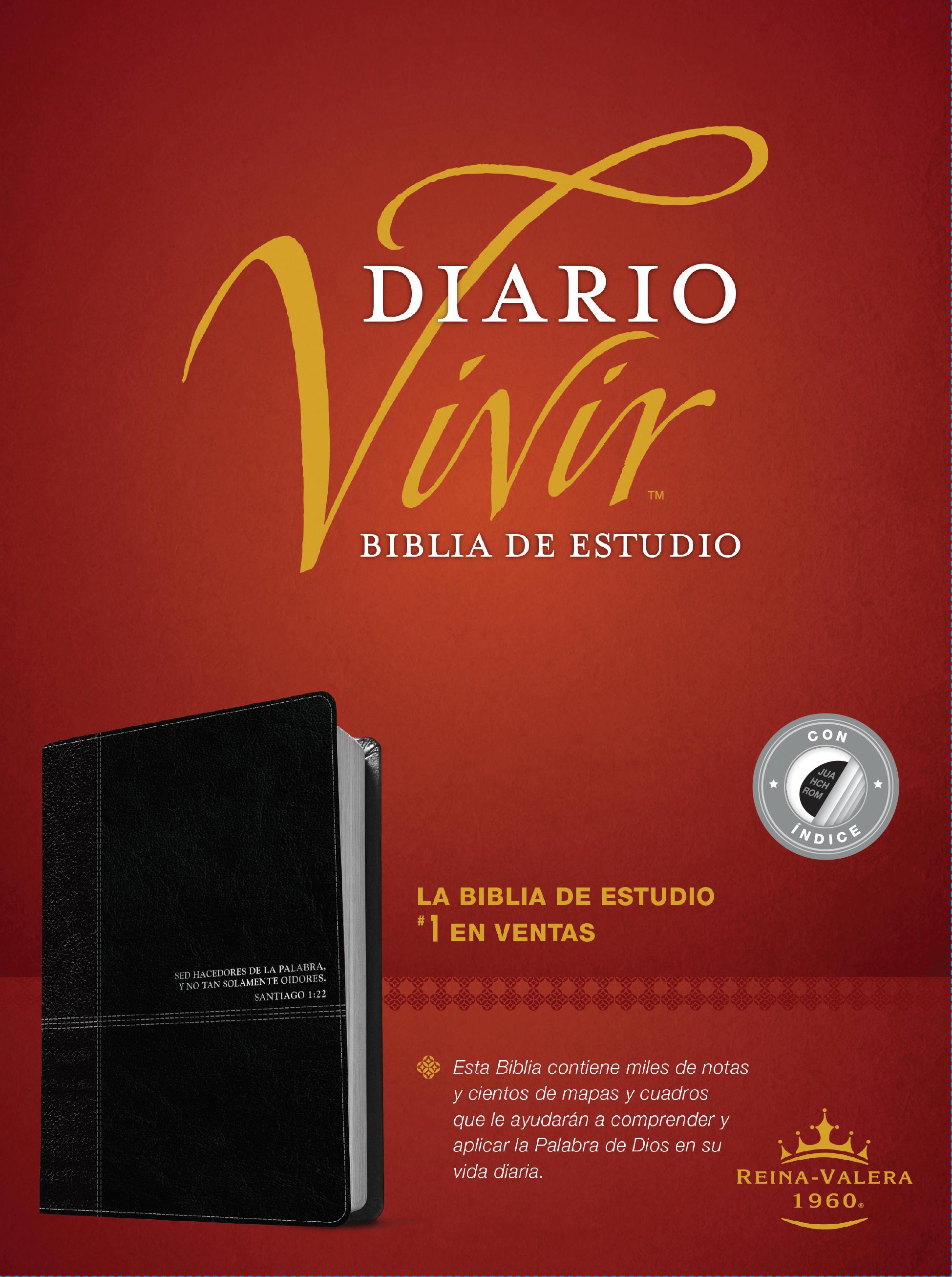 Biblia de estudio del diario vivir RVR60 (Letra Roja, SentiPiel, Negro/Ónice, Índice)