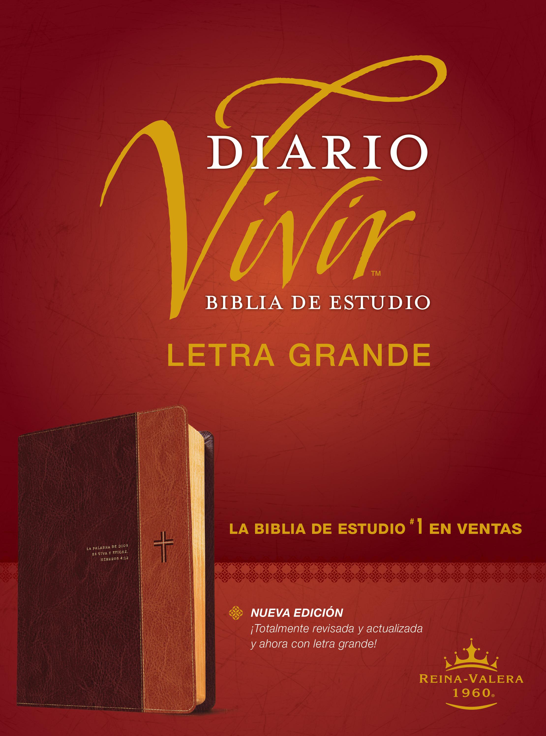Biblia de estudio del diario vivir RVR60, letra grande (Letra Roja, SentiPiel, Café/Café claro)