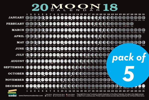 2018 Moon Calendar Card (5-pack)