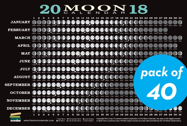 2018 Moon Calendar Card (40-pack)