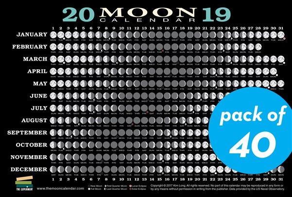 2019 Moon Calendar Card (40 pack)