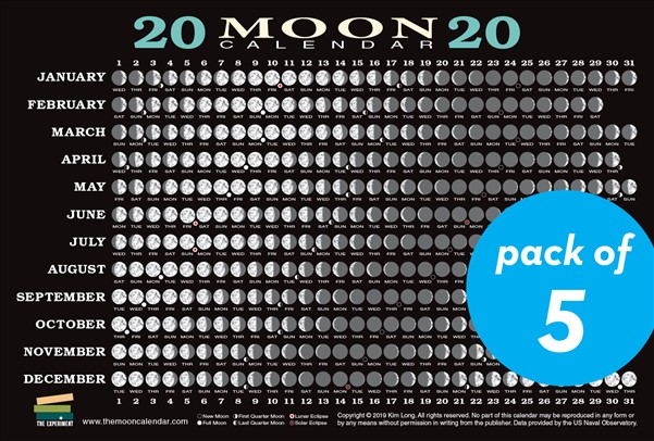 2020 Moon Calendar Card (5 pack)