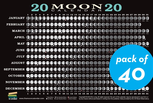 2020 Moon Calendar Card (40 pack)