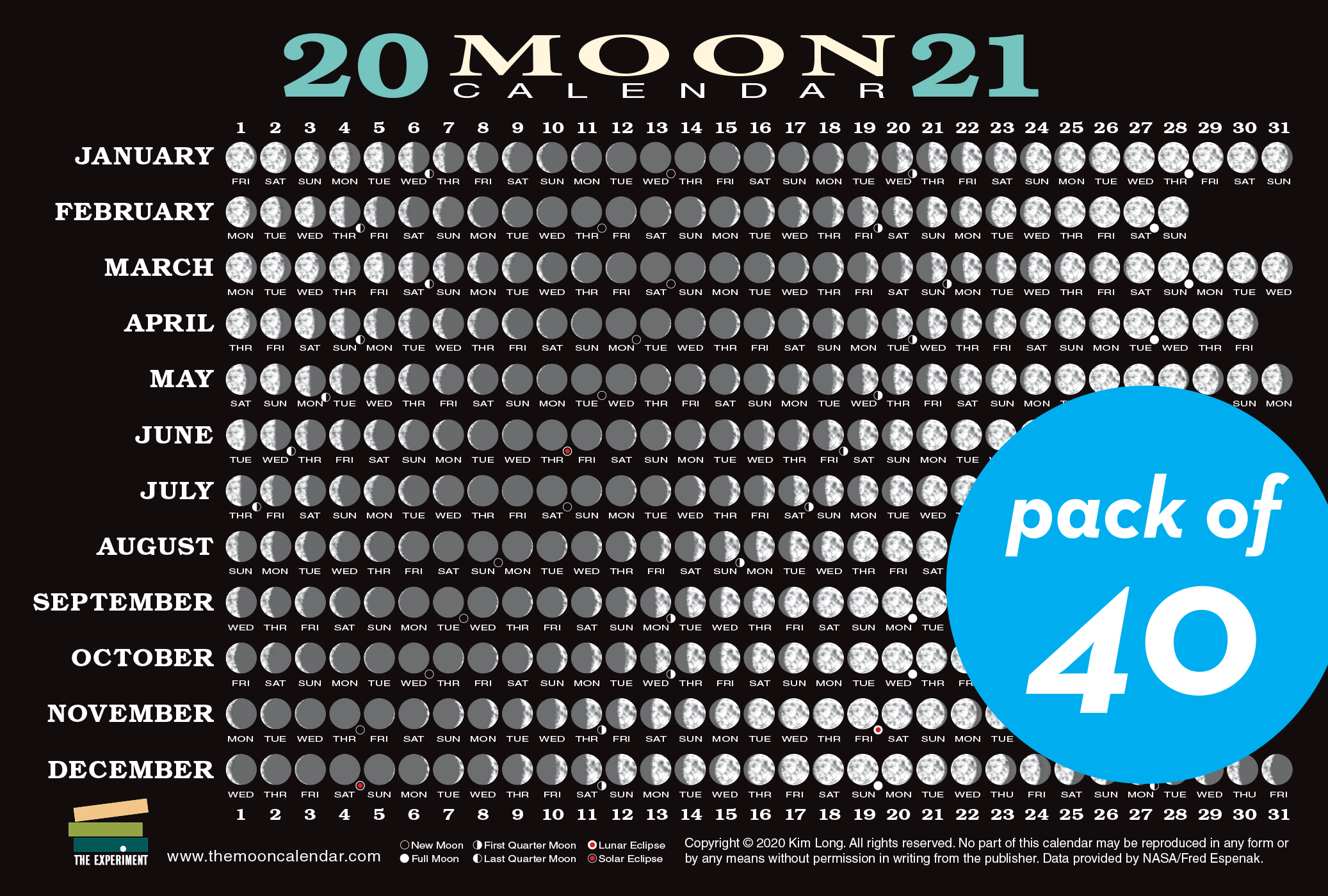 2021 Moon Calendar Card (40 pack)