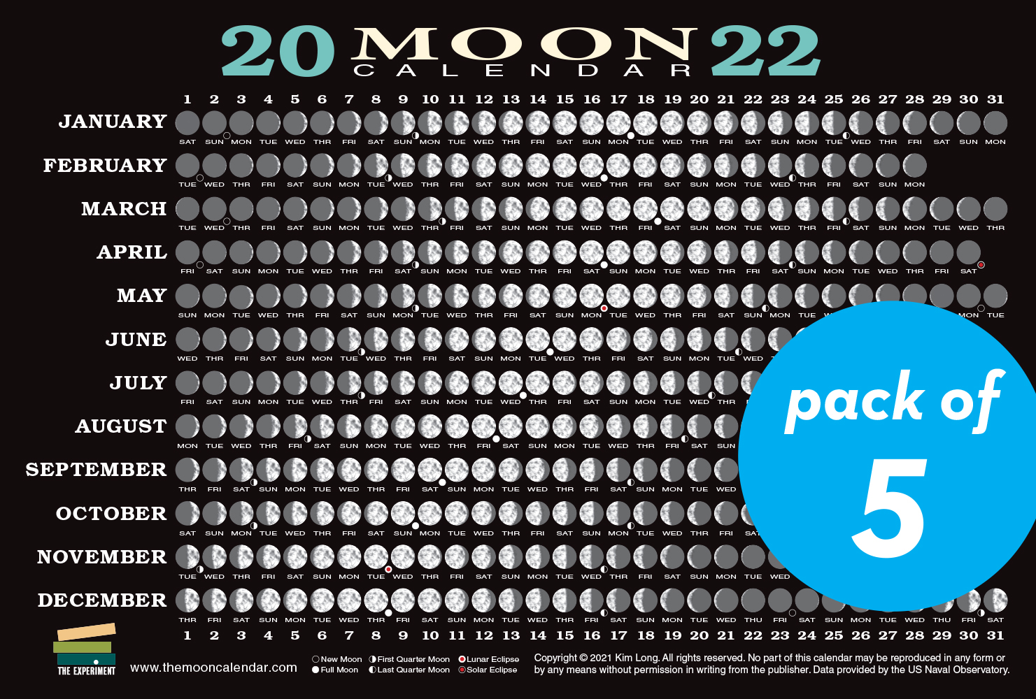 2022 Moon Calendar Card (5 pack)