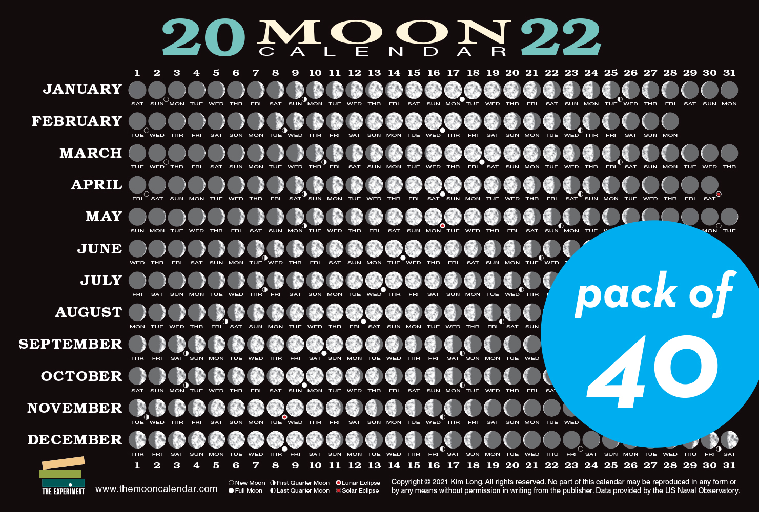 2022 Moon Calendar Card (40 pack)