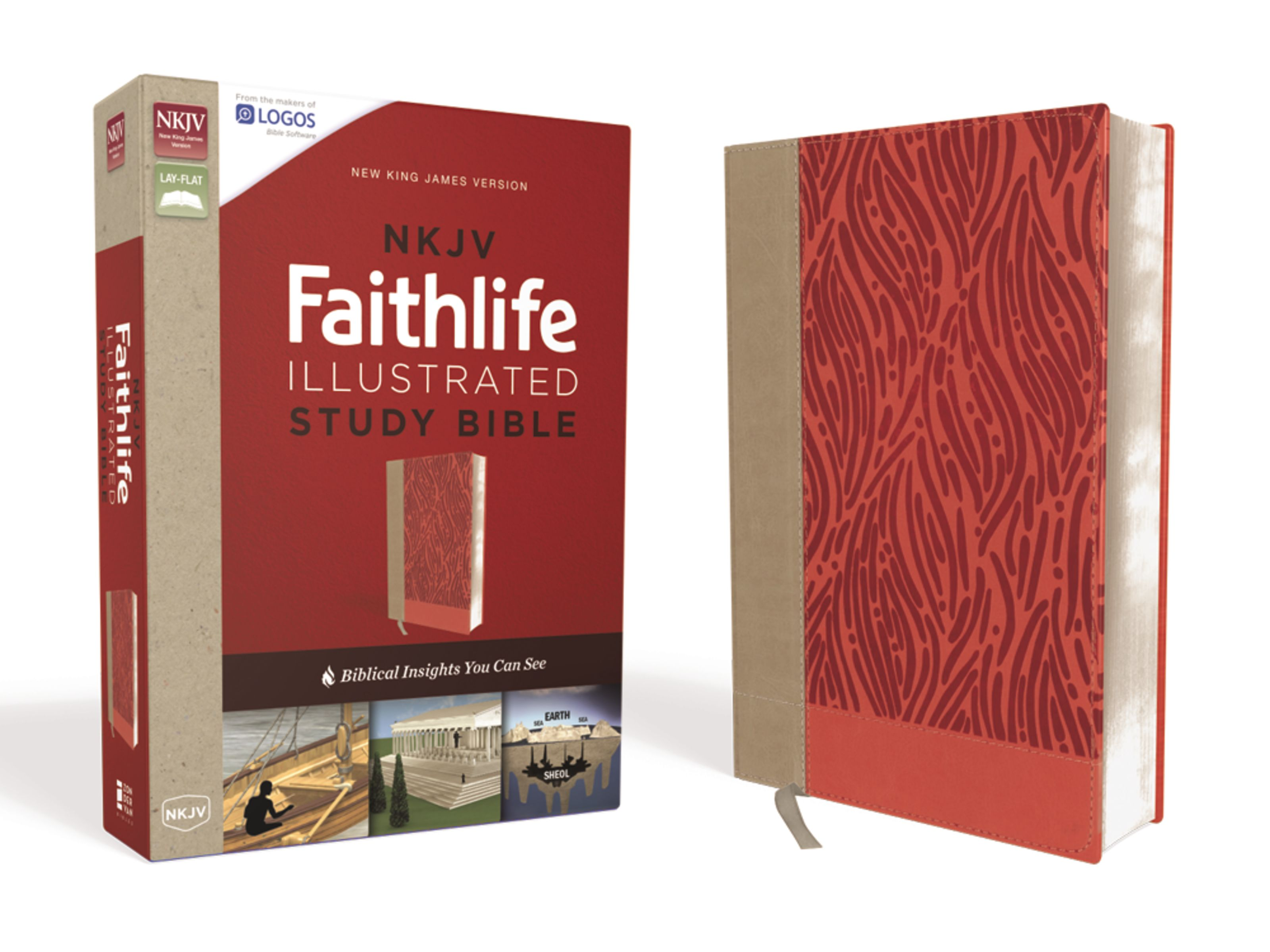 NKJV, Faithlife Illustrated Study Bible, Leathersoft, Pink, Red Letter  Edition