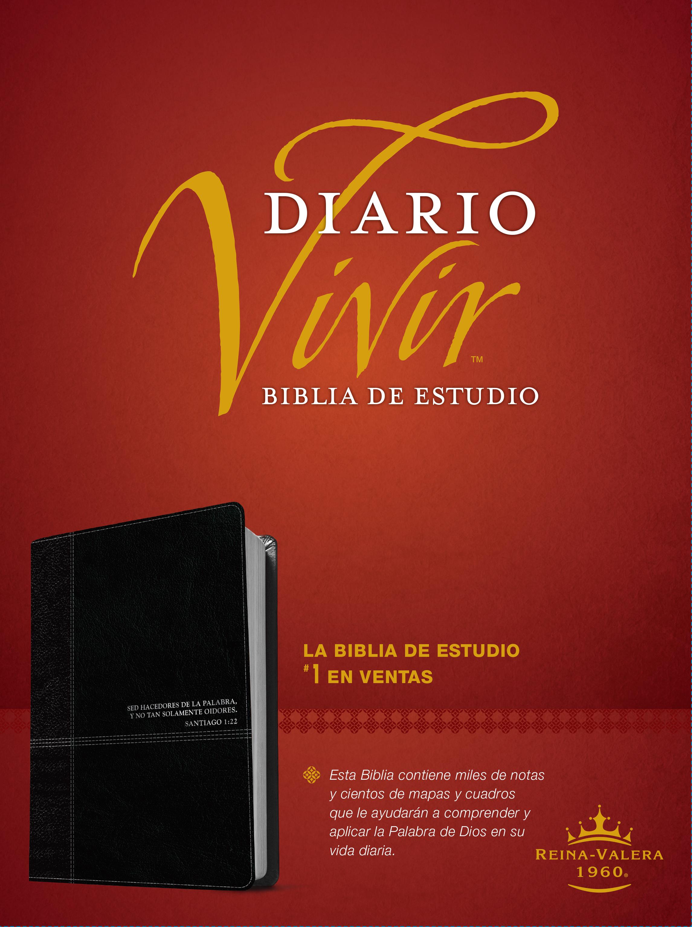 Biblia de estudio del diario vivir RVR60 (Letra Roja, SentiPiel, Negro/Ónice)