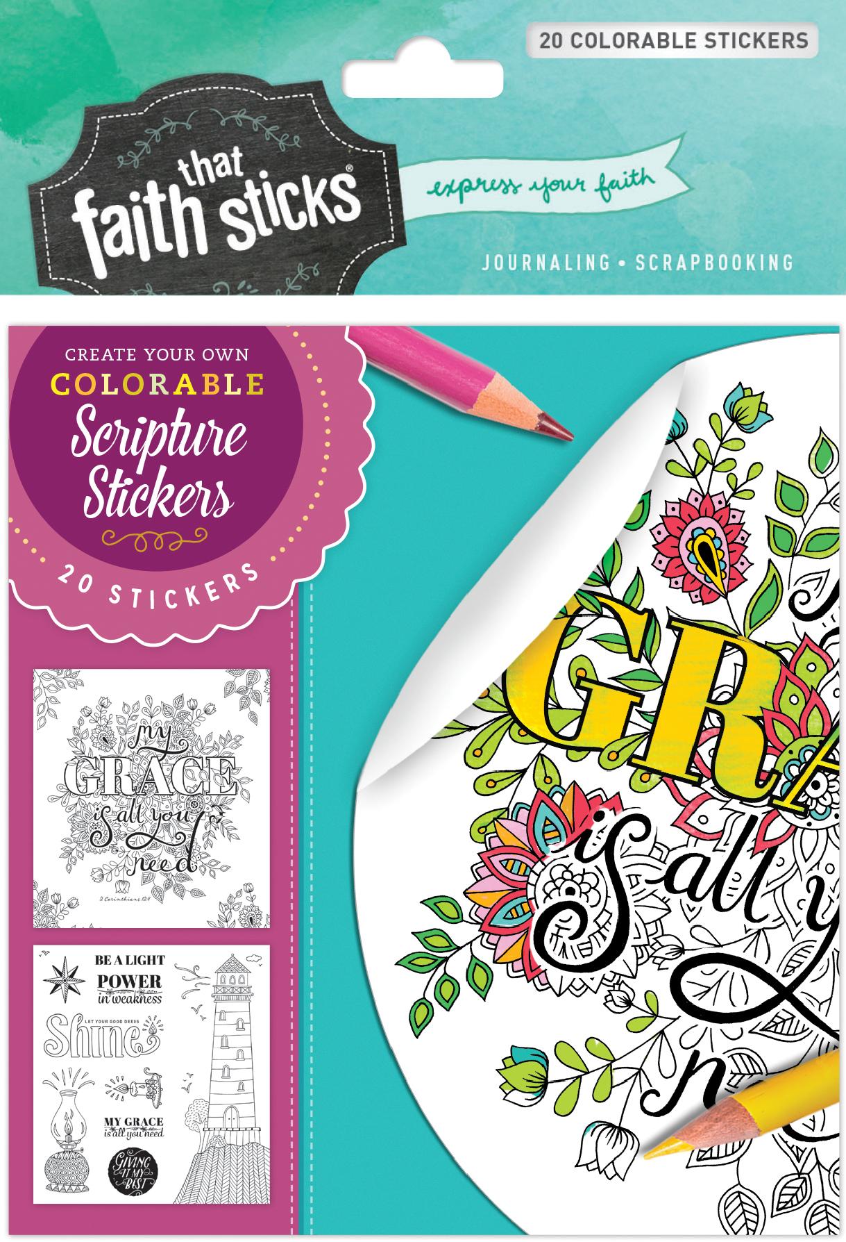 2 Corinthians 12:9 Colorable Stickers