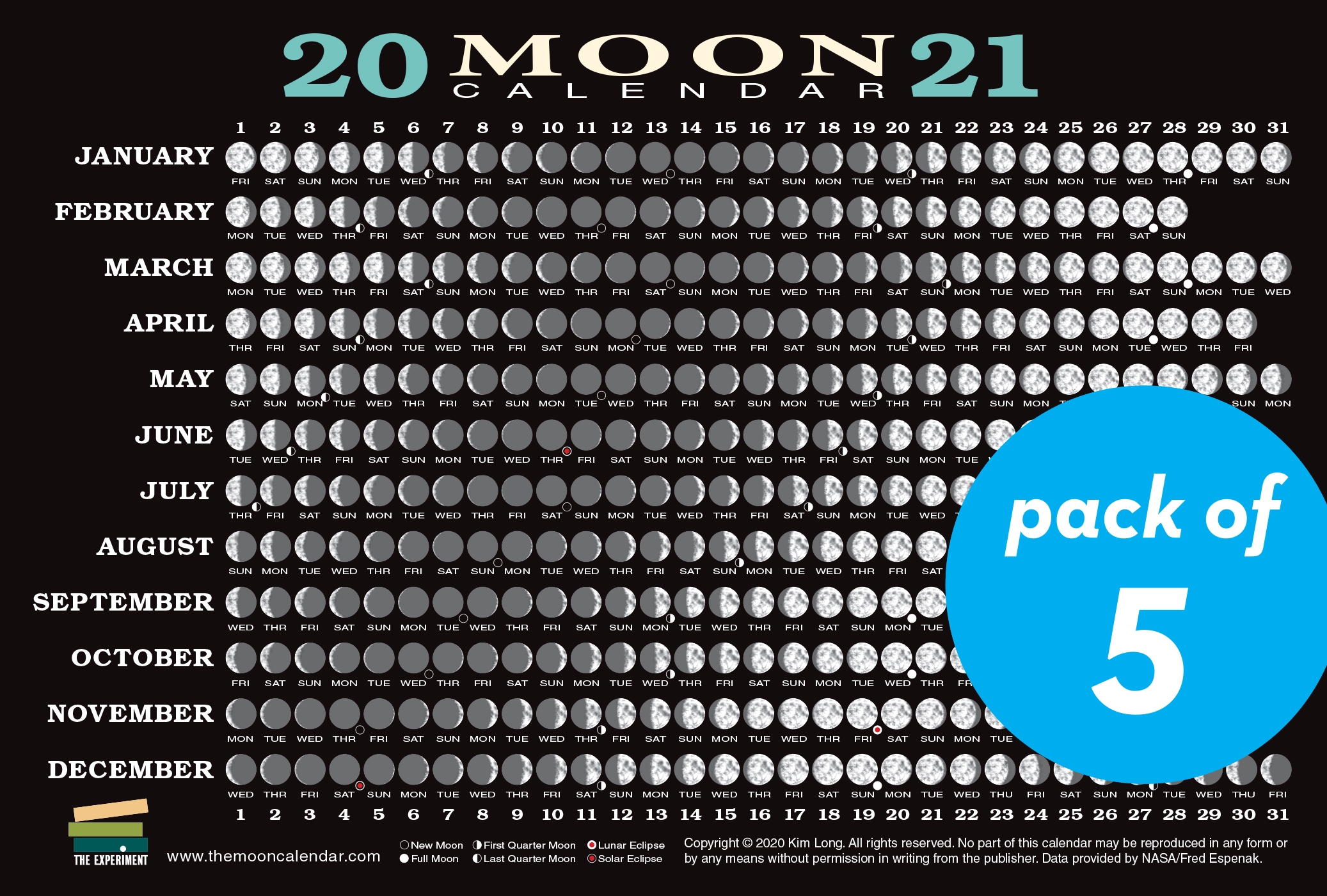 2021 Moon Calendar Card (5 pack)