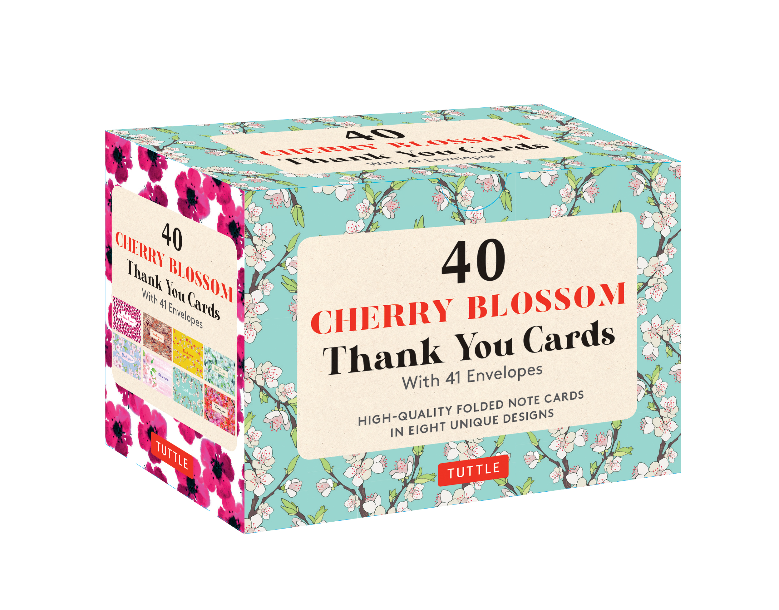 Cherry Blossoms 40 Thank You Cards with Envelopes