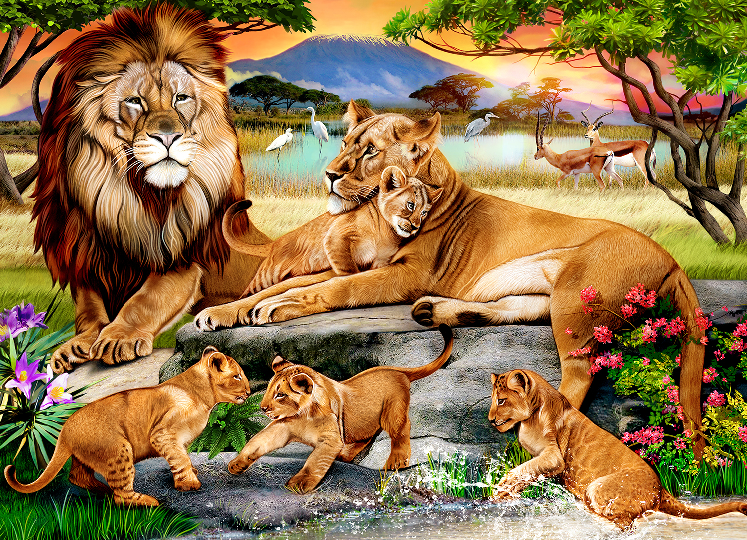 Lion's Family in the Savannah 1000-Piece Puzzle