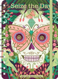 """Sugar Skull 2021 - 2022 On-the-Go Weekly Planner: 17-Month Calendar with Pocket (Aug 2021 - Dec 2022, 5"""" x 7"""" closed): Seize the Day"""