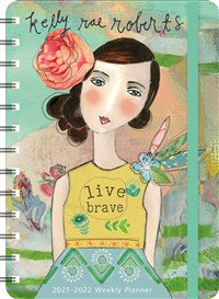 "Kelly Rae Roberts 2021 - 2022 On-the-Go Weekly Planner: 17-Month Calendar with Pocket (Aug 2021 - Dec 2022, 5"" x 7"" closed): Live Brave"